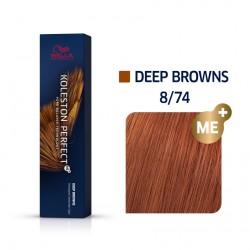 Wella Koleston Perfect Me Deep Browns 8/74 Ξανθό Ανοιχτό Καφέ Κόκκινο 60ml
